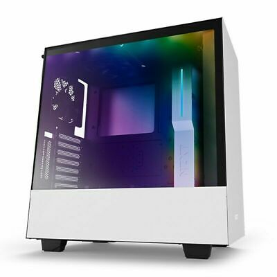 NZXT Matte White H500i RGB Gaming Case Tempered Glass Window Quiet Mid Tower ATX