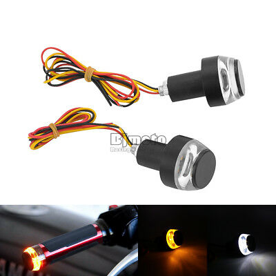 2PCS Handle Bar End LED Grip Plug Turn Signal Indicator Amber Side Light Lamp