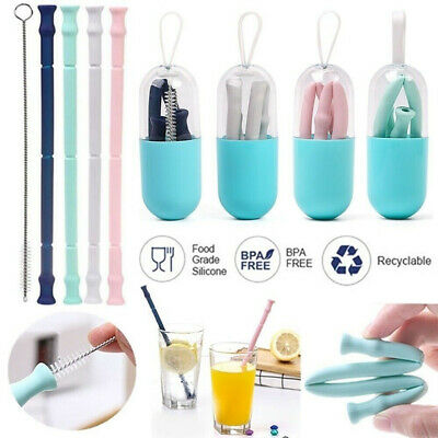 Reusable Drinking Straw Fold Folding Silicone Straws with Cleaning Brush