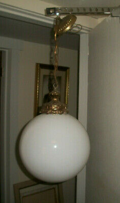 Vintage Mid Century Modern Swag Hanging White Glass Globe Lamp 12 inch diameter