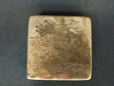 Super Collection Old China Tibet Silver Handmade Lion Ink Cartridges Snuff Box