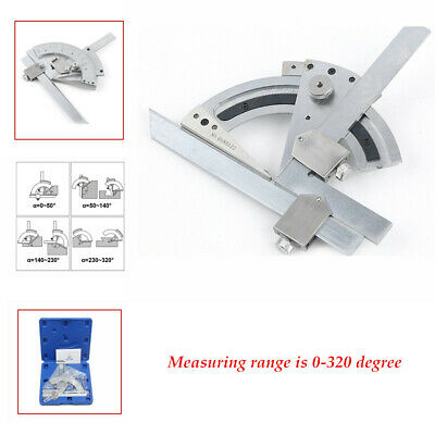0-320°Carbon Steel Bevel Protractor Machinist precise Angle Measurement Tool