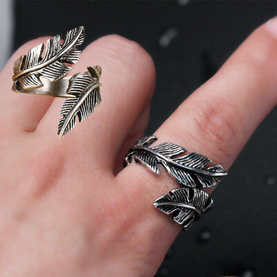 Vintage Men's Gothic Antique Silver Stainless Steel Feather Ring Band Jewelry