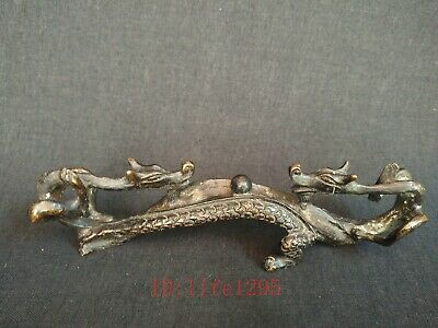 Collection Asian China Old Hand Carved Copper Dragon Pen Rack Decoration Gift