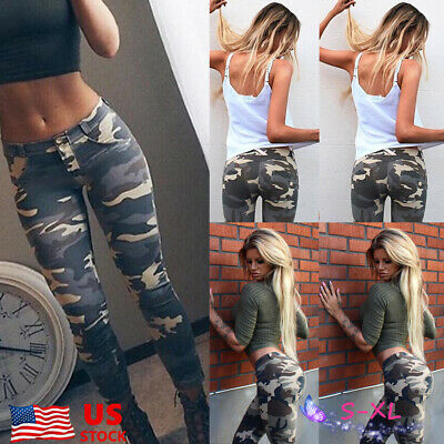 Women Camouflage Cargo Pants Military Combat Joggers Skinny Legging Trousers US