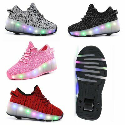 New Kids Girls Boys LED Single Roller Sport Shoes Light Wheel Skate Sneakers