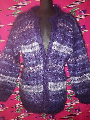 Vintage Retro 80s 90s Purple Patterned Mohair Knitted Cardigan