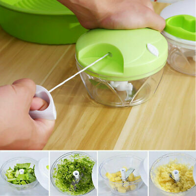 New Fruit/Vegetable Spiral Slicer Garlic Cutter Onion Quick Chopper Pull Trigger