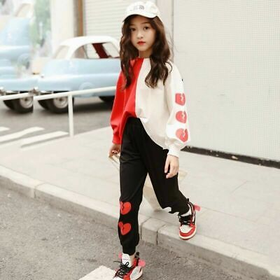 2x Girls Sportswear Two Tone Blouse + Pants Hoodies Trousers Heart Printed Suits
