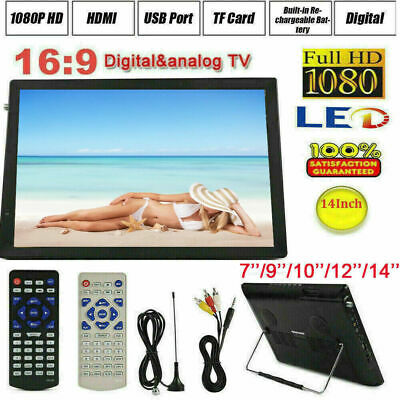 "7''/9''/10''/12''/14"" Portable Digital TV 1080P Video USB/LED/AV/HDMI Television"