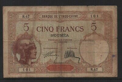 Banknote 1926 New Caledonia 5 franc Noumea overprint on Indo China issue toned