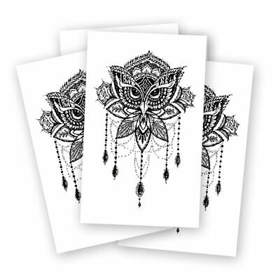 Mandala Owl Fake tattoo's | 5 temporary tattoo sheets