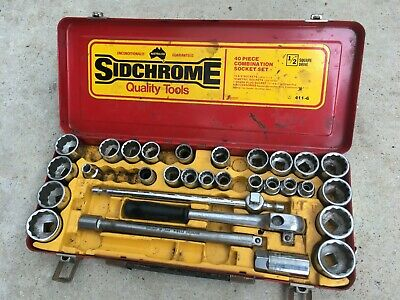 "Vintage Siddons SIDCHROME Combination SOCKET (Part) Set, METRIC & AF, 1/2"" Drive"