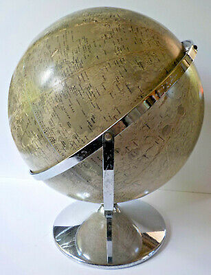 "Rand McNally 12"" Lunar Moon Globe Space Age Mid-Century Modern with Chrome Stand"