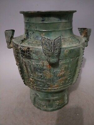 "14"" Chinese old Antique bronze Western Zhou Dynasty carved Cicada zun statue"