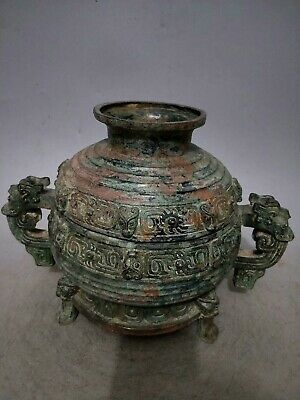 "11"" Chinese old Antique bronze Western Zhou Dynasty turtle basine statue"