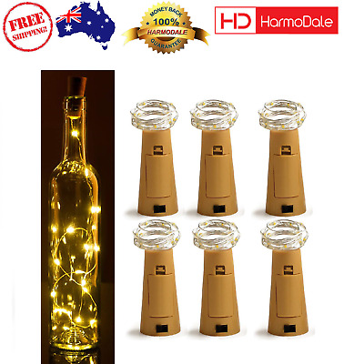 6 Pack Cork Bottle Lights 6.5Ft Copper Wire Fairy String 20 LED Party Decor