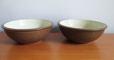 "Denby Energy Cinnamon 2 Cereal Soup Bowls 7"" Brown Cream Stoneware England"