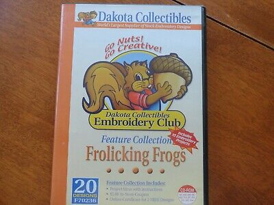 """Dakota Collectibles """"Frolicking Frogs"""" Machine Embroidery designs  20 designs"""