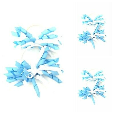 Handmade Girls School Hair Bow Korker Bobbles Light Blue / White  Pairs (SALE)