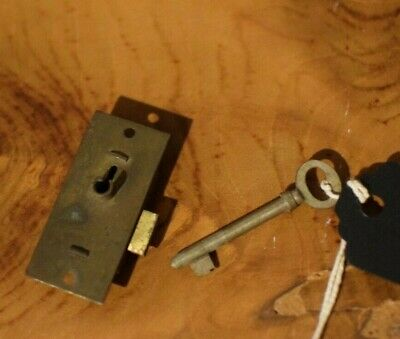 Vintage BRASS MINIATURE LOCK Working W/ Skeleton Key