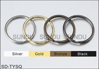 Lot of Metal Split Key Ring  Keychain Ring With 4 Color 10~50mm 10 to1000PCS x