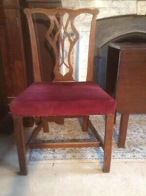Antique George III pair of fine oak dining / hall / drawing room chairs