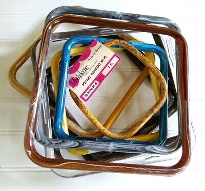 Lot Of 10 Marbella Plastic & Bamboo Square Rings Crafting Purse Handles VTG