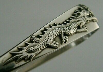 RARE HEAVY CHINESE EXPORT SILVER DRAGON SUGAR TONGS ANTIQUE c1900 37g