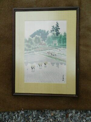 "Framed Vintage Japanese Woodblock Print,""RICE PLANTING"" by E. Kotozuka,EXCELLENT"