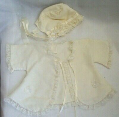 Antique Vintage Old  Baby Doll Silky Lace Top With Bonnet!