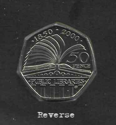 UK 2000 50p Coin Public Libraries Brilliant Uncirculated BU