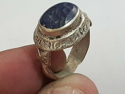 Exeptional Extremely Rare Medieval Silver Ring Seal/Scorpion 7,3 Gr.18 Mm