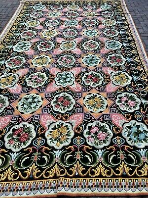 "Original French Needlepoint Carpet 8""x14' c. all over design c 1920 natural dyes"