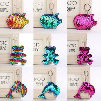 Pendant Holder Glitter Sequins Keychain Pig Key Ring Car Bag Accessories