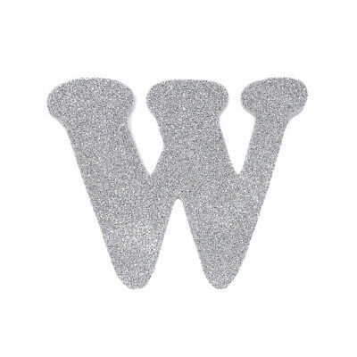"EVA Glitter Foam Letter Cut Out ""W"", Silver, 4-1/2-Inch, 12-Count"