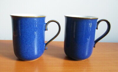 """Denby Imperial Blue 2 Straight Sided Mugs 4"""" Blue Brown Trim Stoneware England"""
