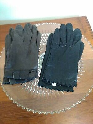Vintage 1950s Black and brown Leather Gloves Ladies Size 6.5 and 7, miss aris
