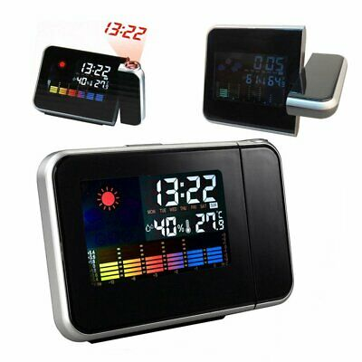 Digital Projection Alarm Clock LED Temperature Color Weather Station LCD Display