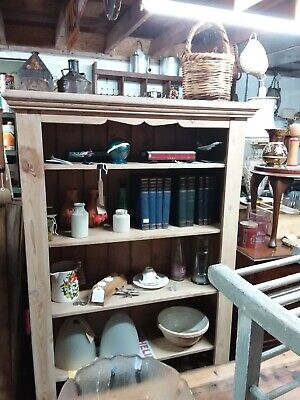 Large Antique Pine Bookcase Shelving Unit