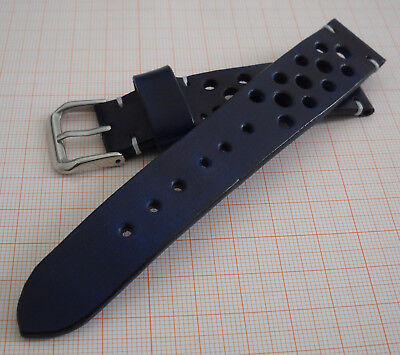 Leather Watch Strap 20 mm Racing Style-Made in Italy-Genuine Italian Leather