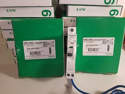 SCHNEIDER MERLIN GERIN ACTi9 iC60H 30mA RCBO'S 10K TYPE B & C 6A 10A 20A 32A 40A