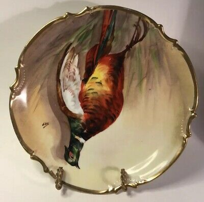 """Antique French Limoges Hand Painted Porcelain Wall Plate by """"Luc"""" c.1899"""