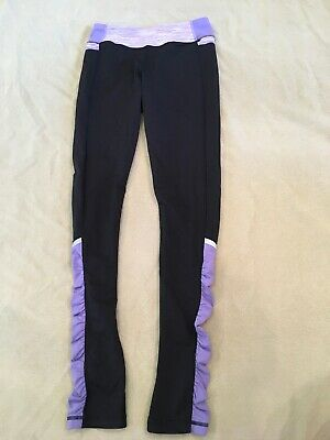Ivivva 12 Girls By Lululemon Purple Black Leggings Ruched Trim