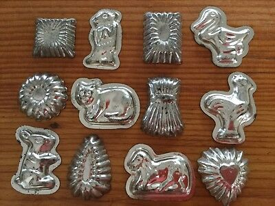 12 Tin Vintage Small Chocolate Moulds - Animals & Shapes.