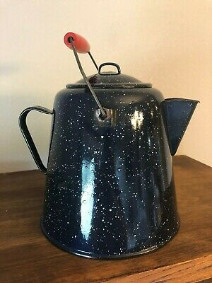 "Vtg Large 10"" Dark Blue Speckled Graniteware Enamelware Cowboy Coffee Pot"