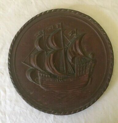 Copper wall hanging / plate Vintage 20.5cm Made In England Good Condition