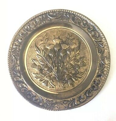 brass wall hanging / Plate Round Thistle Design 23.5cm Vintage Good Condition