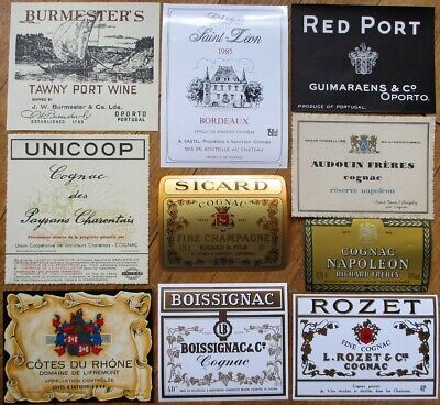 Vintage Wine & Liquor Bottle Labels 50 DIFFERENT 1920s-80s - GROUP 3 - French