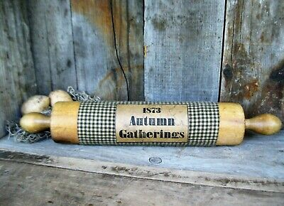 Early Antique Primitive Wood Rolling Pin Autumn Gatherings Free Shipping